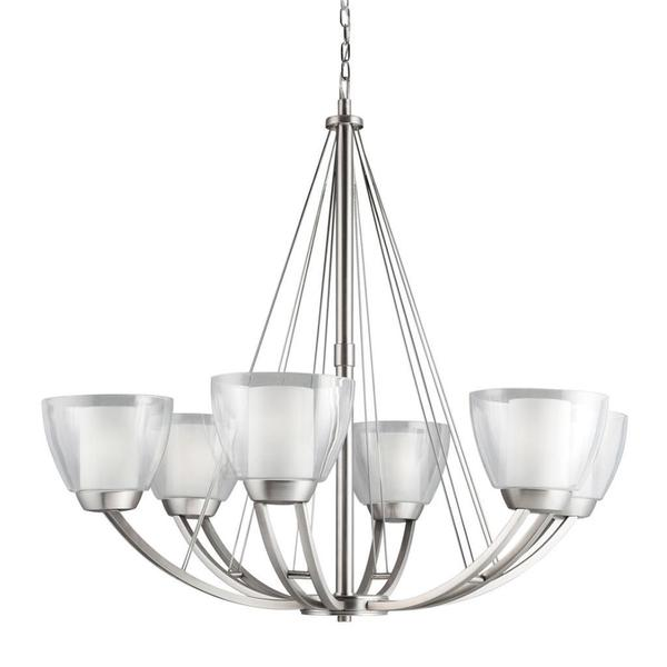 Contemporary 6-light Brushed Nickel Chandelier with Etched Inside and Clear Outside Glass