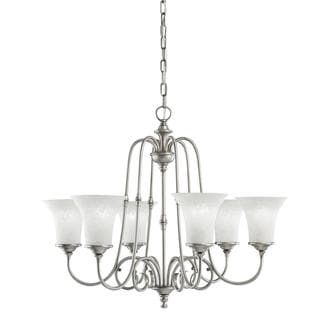 Transitional 6-light Antique Pewter Chandelier with White Textured Glass