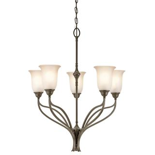 Transitional 5-light Shadow Bronze Chandelier with Sunrise Glass