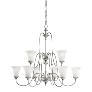 Transitional 9-light Antique Pewter Chandelier with White Textured Glass