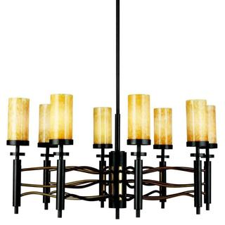 Contemporary 8-light Olde Bronze/ Cashmere Chandelier with Honey Marblestone Glass