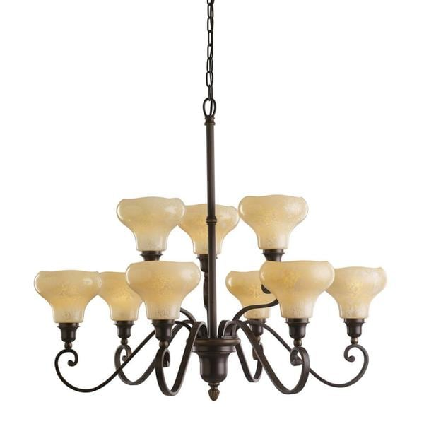 Transitional 9-light Canyon Slate Chandelier with Feathered Cream Glass