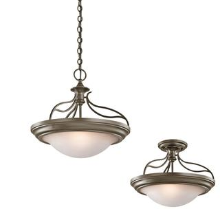 Transitional 2-light Shadow Bronze Dual Mount Pendant with Sunrise Glass Shade