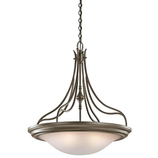 Transitional 4-light Shadow Bronze Inverted Pendant with Sunrise Glass Shade