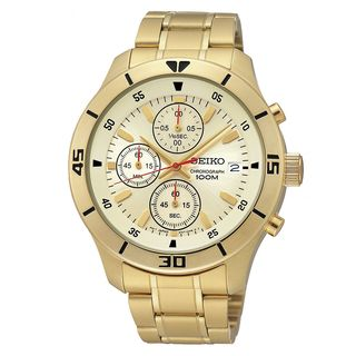 Seiko Men's SKS404 Quartz Goldtone Stainless Steel Chronograph Watch