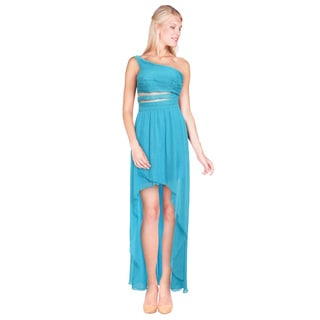 Aidan Mattox Women's Blue Chiffon Asymmetric Mesh High-low Dress