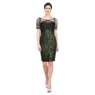 Badgley Mischka Women's Emerald Green Mesh Sequin Evening Dress