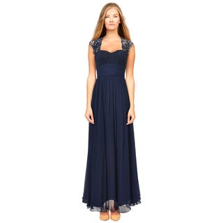 Aidan Mattox Women's Twilight Blue Lace-top Silk Chiffon Dress