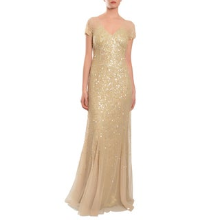 Teri Jon Women's Goldtone Sequin Tulle Cap-sleeve Evening Gown
