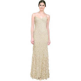 Theia Women's Ivory Petal Embellished Sleeveless Gown