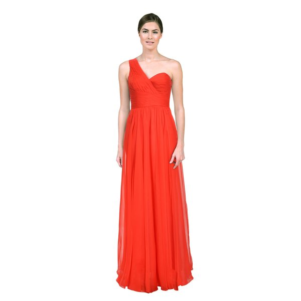 La Femme Women's Red Asymmetric Sheer-back Dress