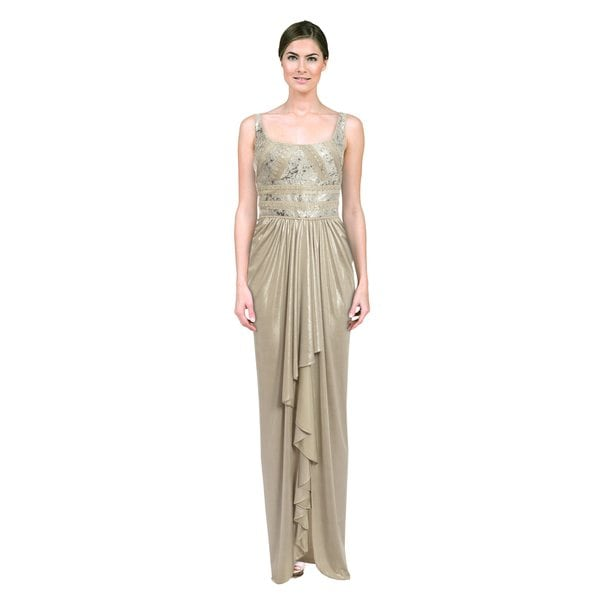 Mignon Women's Desert Silver Satin Embroidered Gown (Size 10)
