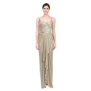 Mignon Women's Desert Silver Satin Embroidered Gown