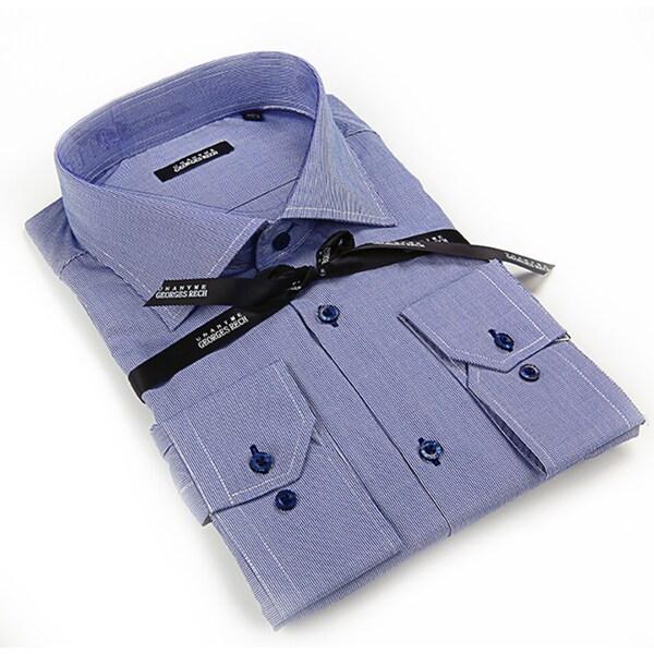 Georges Rech Men's Blue Chambray Button-down Dress Shirt