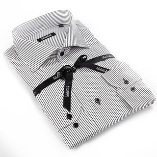 Georges Rech Men's Black and White Button-down Dress Shirt