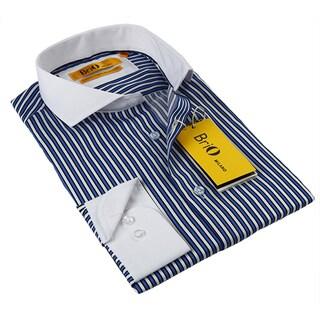 BriO Milano Men's Blue/ Black/ White Button Down Dress Shirt