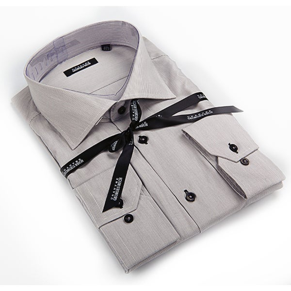 Georges Rech Men's Grey Button-down Dress Shirt