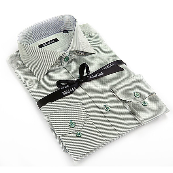 Georges Rech Men's White/ Grey Striped Button-down Dress Shirt