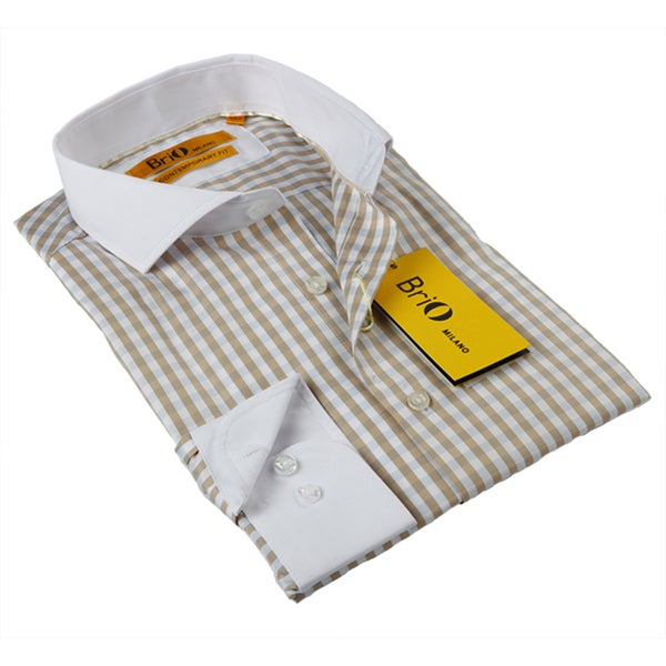 BriO Milano Men's Beige/ Blue/ White Button Down Dress Shirt