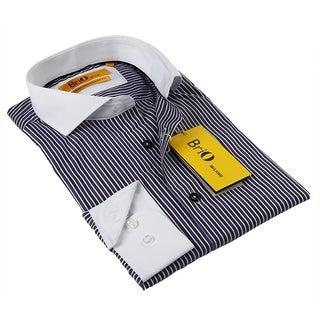 BriO Milano Men's Purple and White Button-down Shirt