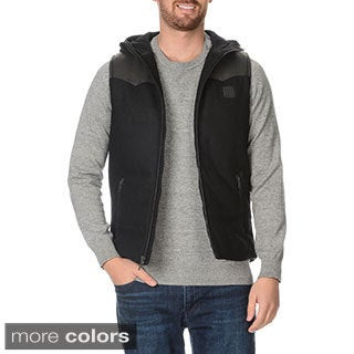 Buffalo David Bitton Men's Wool and Faux Leather Hooded Vest
