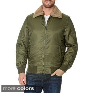 Buffalo David Bitton Men's Nylon Bomber Jacket with Faux Fur Collar