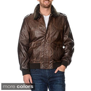 Nautica Men's Leatherette Bomber Jacket with Detachable Faux Fur Collar