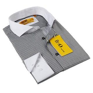 BriO Milano Men's Black and White Button-down Dress Shirt