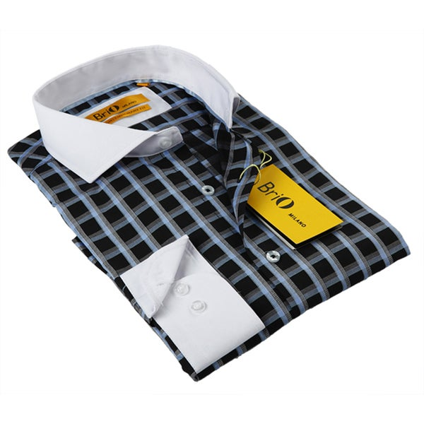 BriO Milano Men's Neutral Check Button-down Dress Shirt
