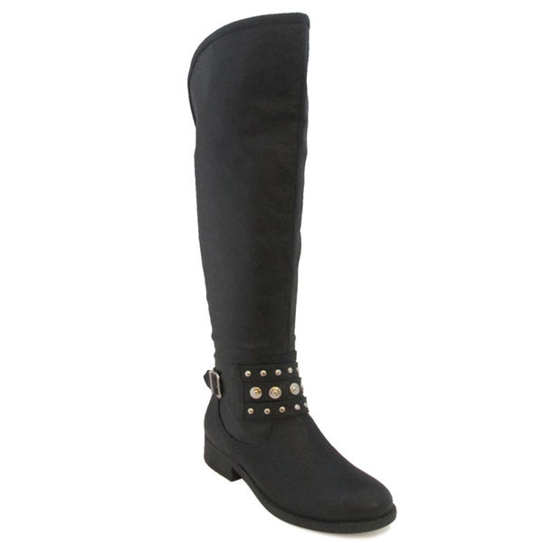 Olivia Miller Women's 'Danika' Black Knee-high Riding Boots