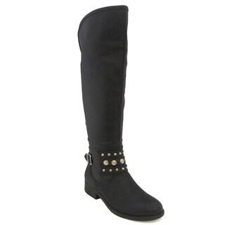 Olivia Miller Women's 'Danika' Black Knee-high Riding Boots