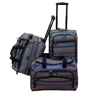 Jourdan Multi Chevron 3-piece Carry-on Luggage Set