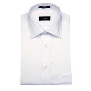 Alara Men's White Egyptian Cotton Dress Shirt with Barrel Cuffs