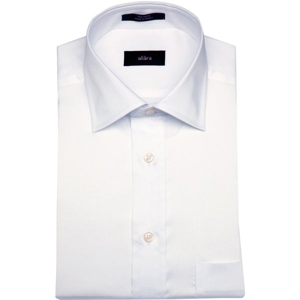 Alara Men's White Egyptian Cotton Dress Shirt with Barrel Cuffs