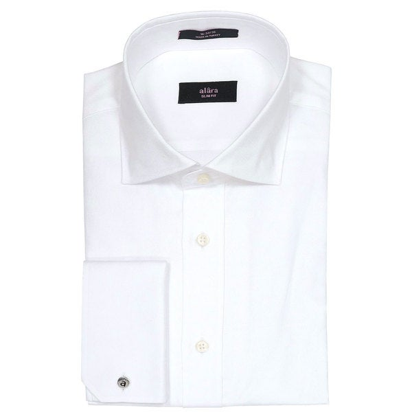 Alara Men's White Micro Cord Slim Fit Egyptian Cotton Dress Shirt with French Cuffs