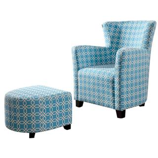 Lizzi Blue/ White Club Chair with Ottoman