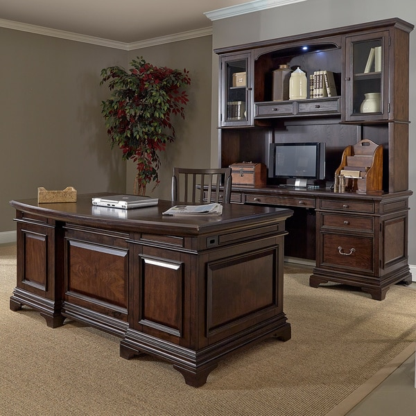 Drake 72 Inch Executive Desk And Credenza With Hutch