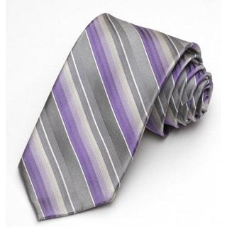 Alara Modern Width Grey and Lavender Stripe Silk Tie