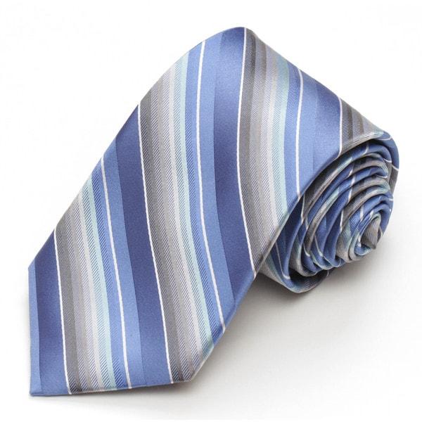 Alara Modern Width Blue and Grey Stripe Silk Tie