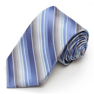 Modern Width Blue and Grey Stripe Silk Tie
