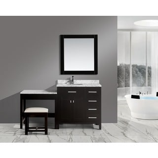 Design Element London 36-inch Single Sink Vanity Set in Espresso with One Make-up Table