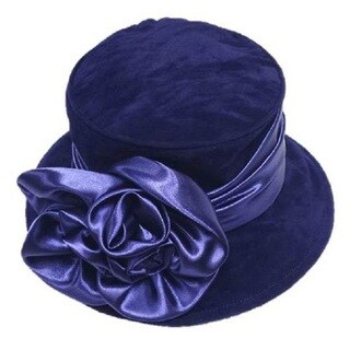 Swan Women's Navy Velvet Flower and Band Packable Hat