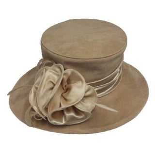 Swan Women's Camel Velvet Flower and Band Packable Hat
