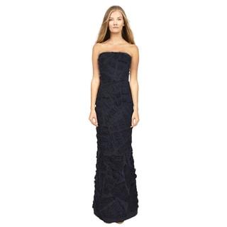 Carmen Marc Valvo Women's Couture Navy Blue Strapless Evening Dress