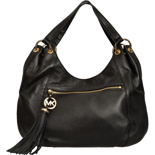 Michael Kors Black Charm Tassel Leather Tote Handbag