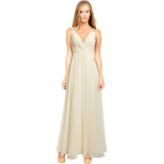 Aidan Mattox Women's Ivory Chiffon Mesh Back Beaded Dress