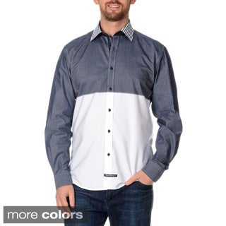 English Laundry Men's Color Block Long Sleeve Button Down Shirt