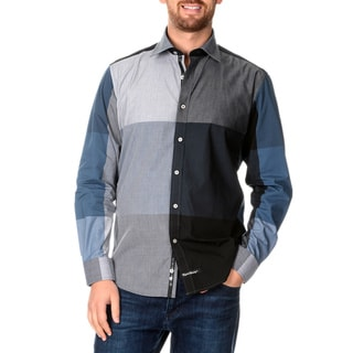 English Laundry Men's Color Block Long Sleeve Button Down
