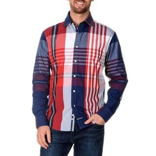 English Laundry Men's Long Sleeve Plaid Button Down