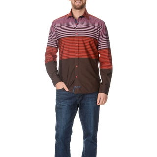 English Laundry Men's Stripe Collared Long Sleeve Button Down